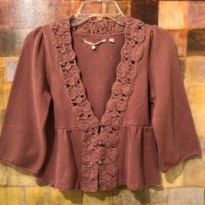 KNITTED & KNOTTED Mauve Floral Knit Shrug Sweater